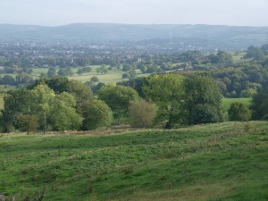 Looking back over Leckhampton from The Crippets